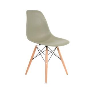 Cadeira Charles Eames Eiffel Sem Braços - Base Madeira - Assento Em Polipropileno Cor Verde Militar