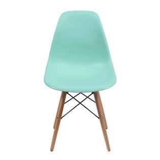 Cadeira Charles Eames Eiffel Sem Braços - Base Madeira - Assento em Polipropileno Cor Verde Tiffany