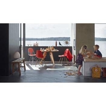 Cadeira Charles Eames Eiffel Sem Braços - Base Madeira - Assento em Polipropileno Cor Vermelha