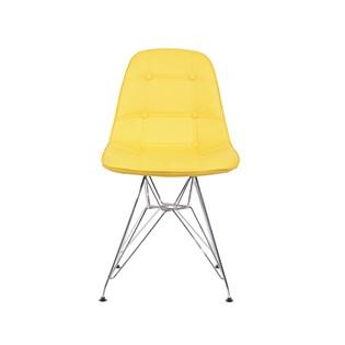 Cadeira Charles Eames Eiffel Sem Braços - Base Metal Cromada - Assento Botone Amarela