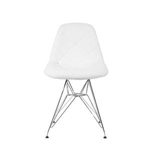 Cadeira Charles Eames Eiffel Sem Braços - Base Metal Cromada - Assento Botone Courissimo Branca