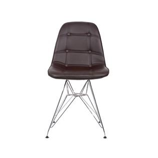 Cadeira Charles Eames Eiffel Sem Braços - Base Metal Cromada - Assento Botone Marrom
