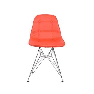 Cadeira Charles Eames Eiffel Sem Braços - Base Metal Cromada - Assento Botone Vermelha