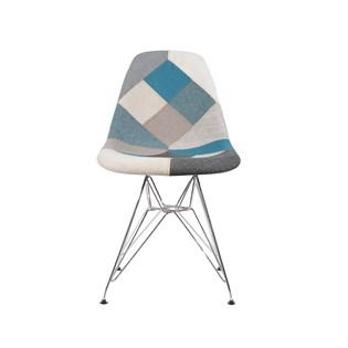 Cadeira Charles Eames Eiffel Sem Braços - Base Metal Cromada - Assento Patchwork Azul E Cinza