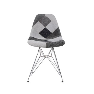 Cadeira Charles Eames Eiffel Sem Braços - Base Metal Cromada - Assento Patchwork B&w 1