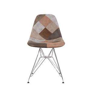 Cadeira Charles Eames Eiffel Sem Braços - Base Metal Cromada - Assento Patchwork Caramelo