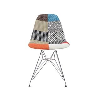 Cadeira Charles Eames Eiffel Sem Braços - Base Metal Cromada - Assento Patchwork Principal