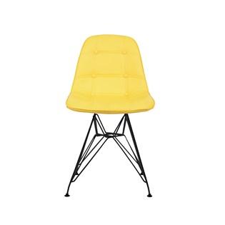 Cadeira Charles Eames Eiffel Sem Braços - Base Metal Preta - Assento Botone Amarela