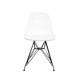 Cadeira Charles Eames Eiffel Sem Braços - Base Metal Preta - Assento Botone Branca