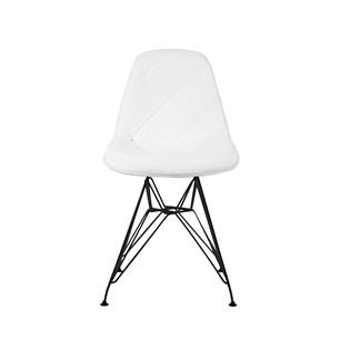Cadeira Charles Eames Eiffel Sem Braços - Base Metal Preta - Assento Botone Courissimo Branca