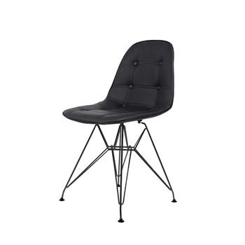 Cadeira Charles Eames Eiffel Sem Braços - Base Metal Preta - Assento Botone Preta