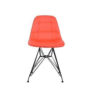 Cadeira Charles Eames Eiffel Sem Braços - Base Metal Preta - Assento Botone Vermelha