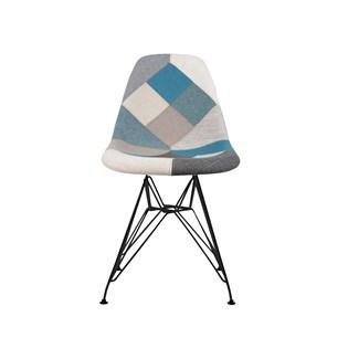 Cadeira Charles Eames Eiffel Sem Braços - Base Metal Preta - Assento Patchwork Azul E Cinza