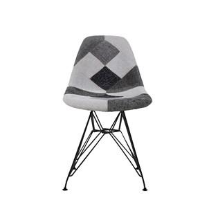 Cadeira Charles Eames Eiffel Sem Braços - Base Metal Preta - Assento Patchwork B&w 1