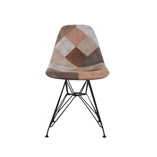 Cadeira Charles Eames Eiffel Sem Braços - Base Metal Preta - Assento Patchwork Caramelo
