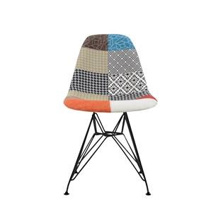 Cadeira Charles Eames Eiffel Sem Braços - Base Metal Preta - Assento Patchwork Principal