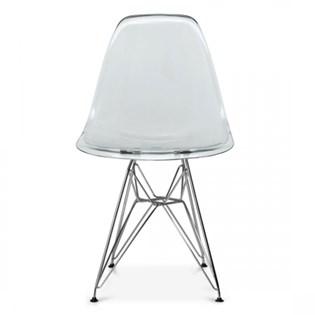 Cadeira Charles Eames Eiffel Sem Braços Com Base em Aço Preto - Assento em Policarbonato Cor Fumê