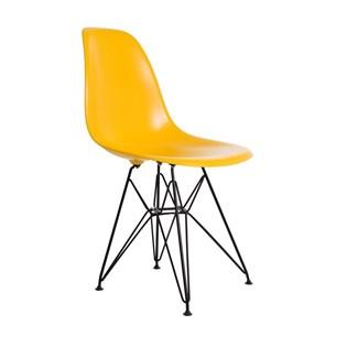 Cadeira Charles Eames Eiffel Sem Braços Com Base em Aço Preto - Assento em Polipropileno Cor Amarela