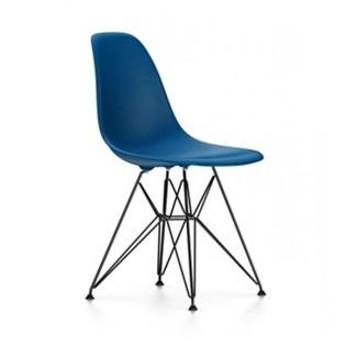 Cadeira Charles Eames Eiffel Sem Braços Com Base em Aço Preto - Assento em Polipropileno Cor Azul Médio