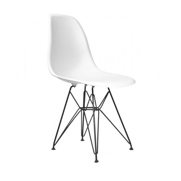 Cadeira Charles Eames Eiffel Sem Braços Com Base em Aço Preto - Assento em Polipropileno Cor Branca
