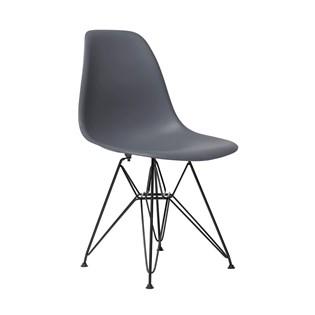 Cadeira Charles Eames Eiffel Sem Braços Com Base em Aço Preto - Assento em Polipropileno Cor Cinza Escuro