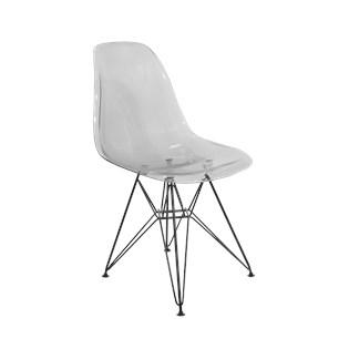 Cadeira Charles Eames Eiffel Sem Braços Com Base em Aço Preto - Assento em Polipropileno - Cor Fumê