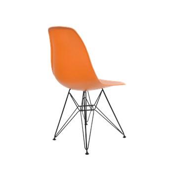 Cadeira Charles Eames Eiffel Sem Braços Com Base em Aço Preto - Assento em Polipropileno Cor Laranja