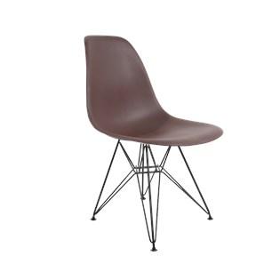 Cadeira Charles Eames Eiffel Sem Braços Com Base em Aço Preto - Assento em Polipropileno Cor Marrom
