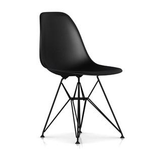 Cadeira Charles Eames Eiffel Sem Braços Com Base em Aço Preto - Assento em Polipropileno Cor Preta