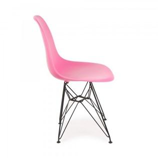 Cadeira Charles Eames Eiffel Sem Braços Com Base em Aço Preto - Assento em Polipropileno Cor Rosa