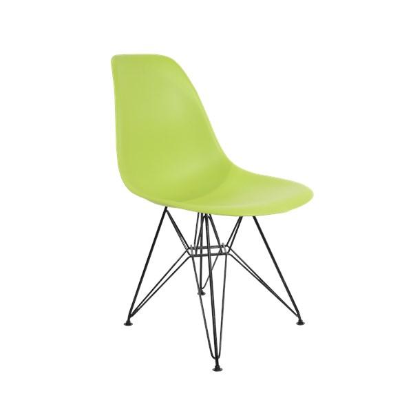 Cadeira Charles Eames Eiffel Sem Braços Com Base em Aço Preto - Assento em Polipropileno Cor Verde Claro