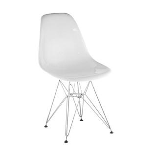 Cadeira Charles Eames Eiffel Sem Braços Com Base em Metal Cromado - Assento em Policarbonato Cor Branca