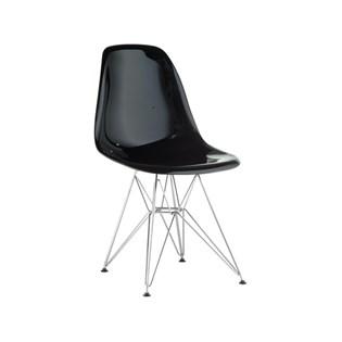Cadeira Charles Eames Eiffel Sem Braços Com Base em Metal Cromado - Assento em Policarbonato Cor Preta