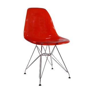 Cadeira Charles Eames Eiffel Sem Braços Com Base em Metal Cromado - Assento em Policarbonato Cor Vermelha