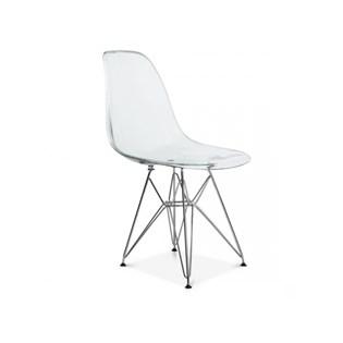 Cadeira Charles Eames Eiffel Sem Braços Com Base em Metal Cromado - Assento em Policarbonato Transparente Incolor