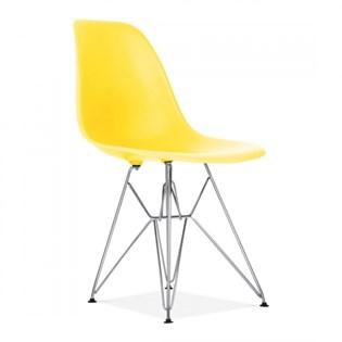 Cadeira Charles Eames Eiffel Sem Braços Com Base em Metal Cromado - Assento em Polipropileno Cor Amarela