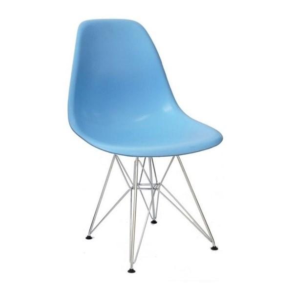 Cadeira Charles Eames Eiffel Sem Braços Com Base em Metal Cromado - Assento em Polipropileno Cor Azul Claro
