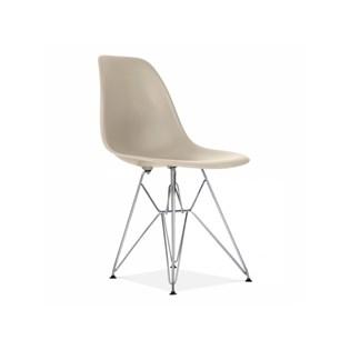 Cadeira Charles Eames Eiffel Sem Braços Com Base em Metal Cromado - Assento em Polipropileno Cor Bege