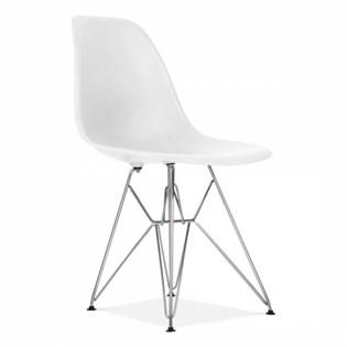 Cadeira Charles Eames Eiffel Sem Braços Com Base em Metal Cromado - Assento em Polipropileno Cor Branca