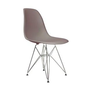 Cadeira Charles Eames Eiffel Sem Braços Com Base em Metal Cromado - Assento em Polipropileno Cor Cinza Quente