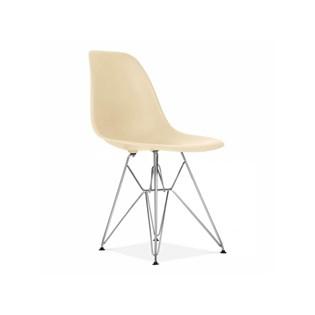 Cadeira Charles Eames Eiffel Sem Braços Com Base em Metal Cromado - Assento em Polipropileno Cor Creme