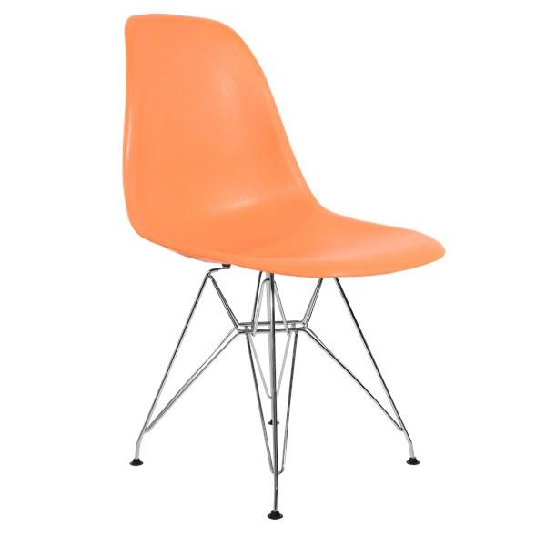 Cadeira Charles Eames Eiffel Sem Braços Com Base em Metal Cromado - Assento em Polipropileno Cor Laranja