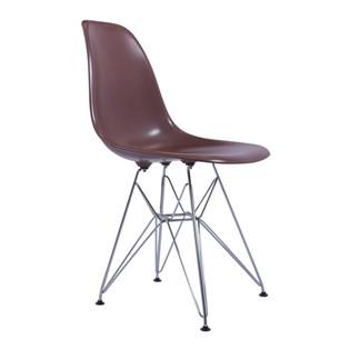 Cadeira Charles Eames Eiffel Sem Braços Com Base em Metal Cromado - Assento em Polipropileno Cor Marrom