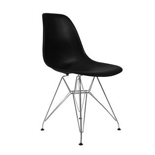 Cadeira Charles Eames Eiffel Sem Braços Com Base em Metal Cromado - Assento em Polipropileno Cor Preta