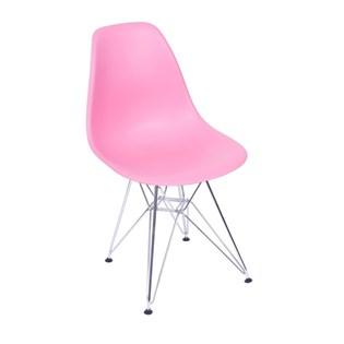 Cadeira Charles Eames Eiffel Sem Braços Com Base em Metal Cromado - Assento em Polipropileno Cor Rosa