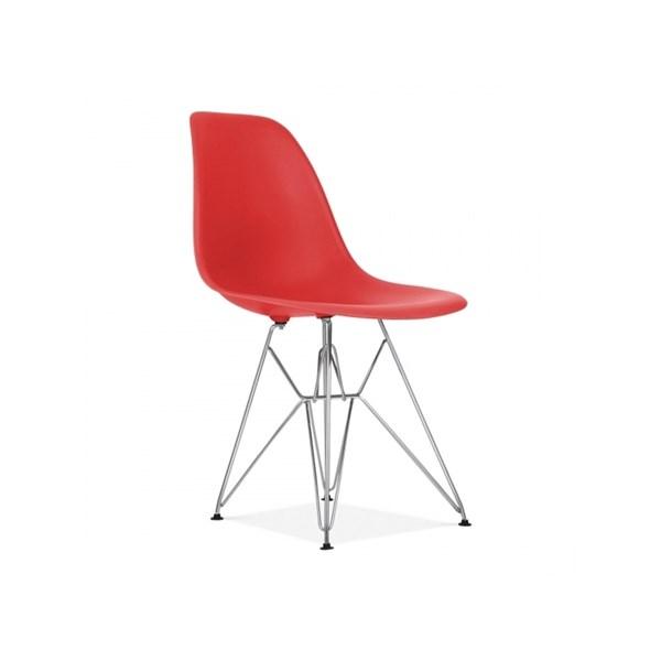 Cadeira Charles Eames Eiffel Sem Braços Com Base em Metal Cromado - Assento em Polipropileno Cor Vermelha