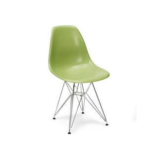 Cadeira Charles Eames Eiffel Sem Braços Com Base em Metal Cromado - Assento em Polipropileno Cor Verde