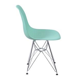 Cadeira Charles Eames Eiffel Sem Braços Com Base em Metal Cromado - Assento em Polipropileno Cor Verde Tiffany