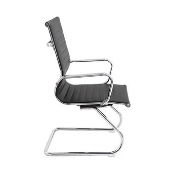 Cadeira de Escritório Fixa Interlocutor Charles Eames Esteira Baixa - Cor Preta
