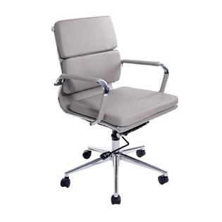 Cadeira De Escritório Presidente Charles Eames Esteira Baixa com Almofada - Cor Bege